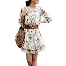 Allegra K Woman Floral Prints Flouncing Hem Chiffon Dress