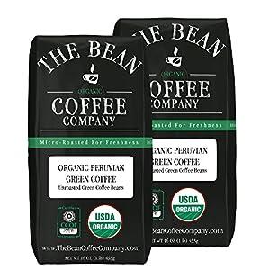 The Bean Coffee Company Organic Green Coffee Beans, Peruvian, 16-Ounce by The Bean Coffee Company