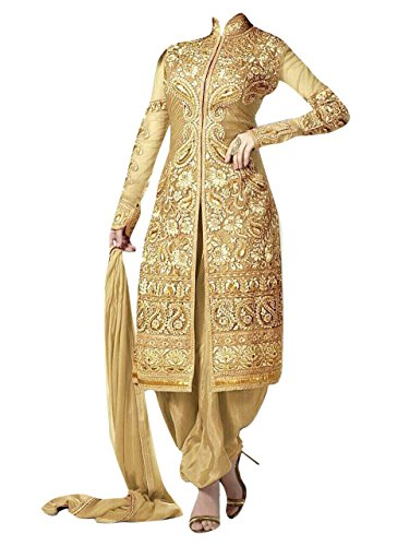 New Gold Heavy Embroidery Work Patialas Style With Georgette Designer Suit