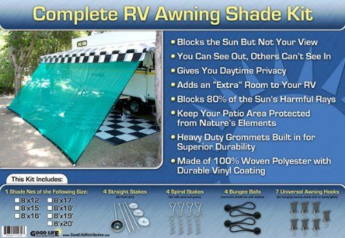 RV Awning Shade Complete Kit RV Sun Shade Green 10 x 20