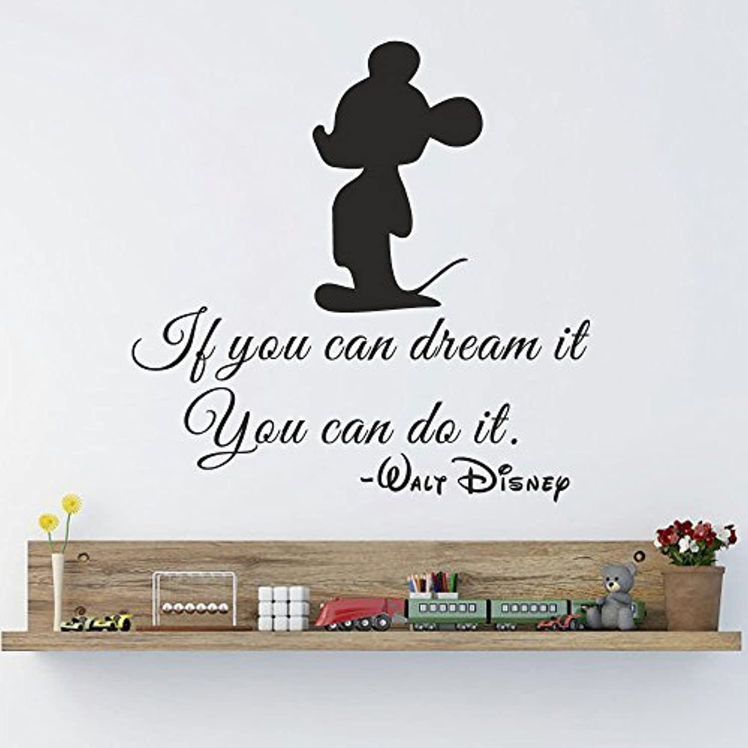 Baby Boy Nursery Wall Stickers Mickey Mouse Wall Decals Quote If You Can Dream It You