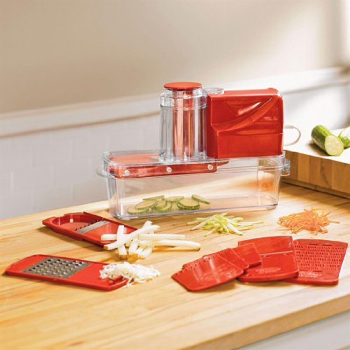 BrylaneHome Electric Mandoline Slicer (RED,0)