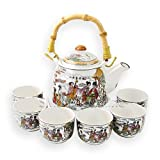 Porcelain Infuser Teapot Set Ancient Chinese Goddes