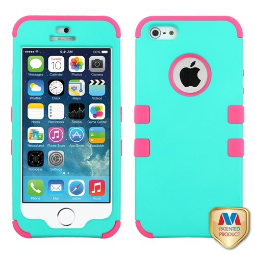 Cell Accessories For Less (Tm) Apple Iphone 5S/5 Hard Teal Green/Electric Pink Tuff Hybrid Case Cover + Bundle (Stylus & Micro Cleaning Cloth) - By Thetargetbuys