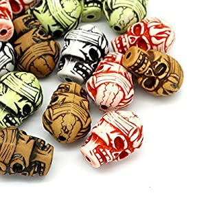 Housweety 20 Mix Acryl Perlen Beads Schaedel Mehrfabrig 17mm x 26mm