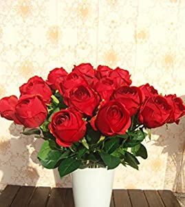 Bridal Wedding Bouquet Latex Silk Flower Bouquets Red Lot Of 10pcs