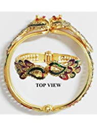 Meenakari Peacock Design Gold Plated Hinged Bracelet - Metal