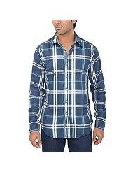 One Fuel Men's Blue Green White Checks Casual Slim Fit Shirt
