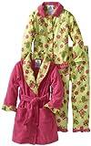 Baby Bunz Little Girls'  Birdies 3 Piece  Pajama Set, Light Green/Pink, 4T