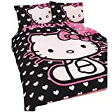 Girls Hello Kitty Hearts DOUBLE Duvet/Quilt Cover Bedding Set (Full Bed) (Black/Pink)