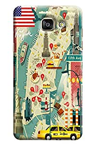 Blue Throat Road Map Printed Designer Back Cover/Case For Samsung Galaxy A5 2016