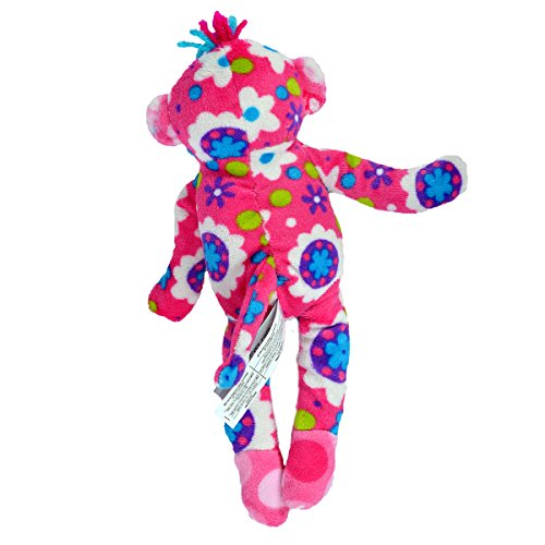 Mary Meyer Print Pizzazz Lovely Little Sock Monkey - 8.5 Inches - Pink Flowers at 'Sock Monkeys'