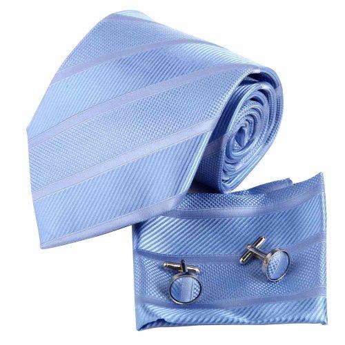 H7020 Cornflower Blue Stripes Mens Silk Tie Great Shop Gift Items 3PT By Y&G