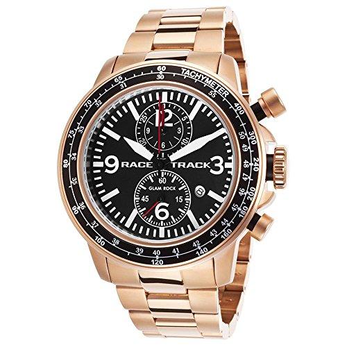 Glam Rock Racetrack Reloj de hombre cuarzo suizo 47mm cronógrafo correa de acero color rosa GRT29112F-BR