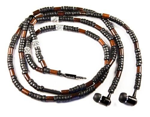 Handcandy Hf001Sb The Chicama Dunetunes Stereo Headphone Necklace, Natural Wood Black/Dark Brown