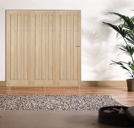 "Green Tree Doors Oak Aston Panel Internal Door Bifold System (686mm (27"") - 3 Doors)"