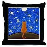 Orange Tabby CAT Starry Night ART Pillow Throw Pillow