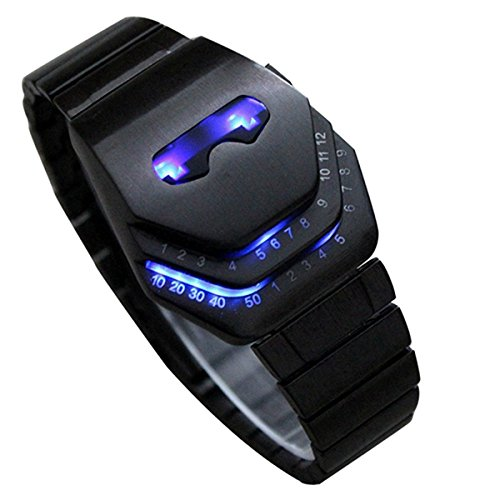 Next Men'S Peculiar Cool Gadgets Interesting Amazing Snake Head Design Blue Or Red Led Watches With Stainless Steel Strap Wth8021