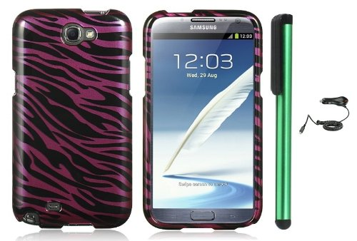 Review:  Purple Black Zebra Premium Design Protector Hard Cover Case for Samsung Galaxy Note II N7100 (AT&T, Verizon, T-Mobile, Sprint, U.S. Cellular) Android Smart Phone + Luxmo Brand Car Charger + Combination 1 of New Metal Stylus Touch Screen Pen (4