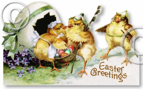Item 09125 Vintage Victorian Style Easter Chicks Decoration