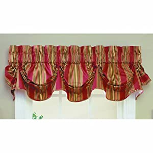 Waverly Sweetwater Stripe Window Valance Red Home Kitchen