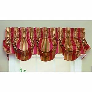 Amazon Com Waverly Sweetwater Stripe Window Valance Red