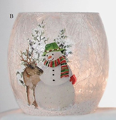Stony Creek Winter Friends Collection Lighted Glass Jar, Choice of Style (B) (Lighted Jars compare prices)