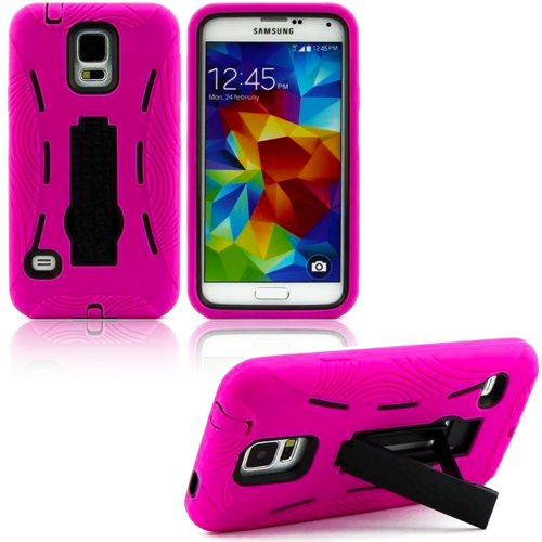 Mylife (Tm) Bright Hot Pink And Rich Dark Black - Shock Suit Survivor Series (Built In Kickstand + Easy Grip Silicone) 3 Piece + 2 Layer Case For New Galaxy S5 (5G) Smartphone By Samsung (External Flex Silicone Bumper Gel + Internal 2 Piece Rubberized Sna