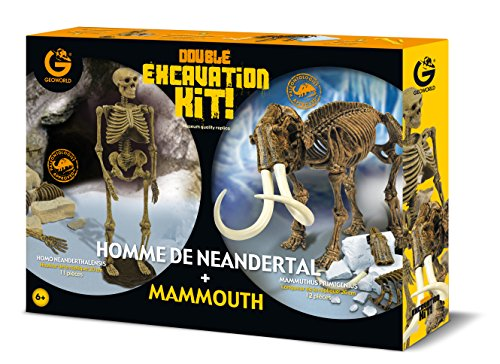 Geoworld-Cl662k-Jeu-Scientifique-Dino-Excavation-Kit-Pack-Duo-Homme-Neandertalmammouth
