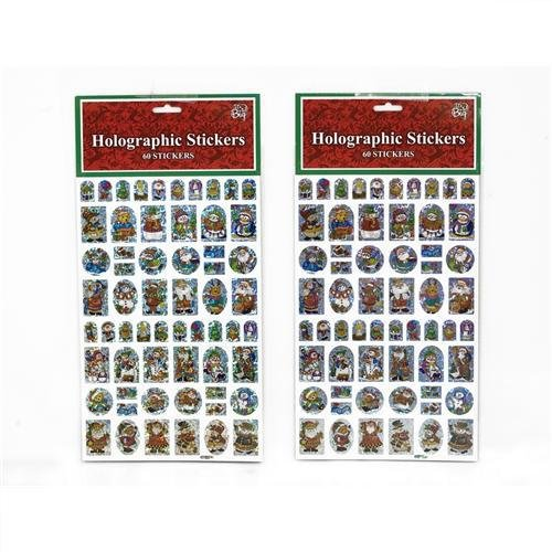 Holographic Christmas Stickers 60 Count Assorted Case Pack 24