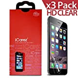 "iCarez® for Apple iPhone 6 4.7 "" [HD Clear] Highest Quality Premium Screen protector High Definition Ultra Clear & Anti Bacterial & Anti-Oil & Anti Scratch & Bubble free & Reduce Fingerprint & No rainbow & washable Screen Protector **PET Film Made in Japan** Easy install & Green healthy Product with Lifetime Replacement Warranty [3-Pack] - Retail Packaging 2014"