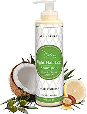 Nature Lush Organic Argan Anti-Hair Loss Shampoo with Rich Vitamins - Sulfate Free & Rich Saw Palmetto DHT Hair Root Treatment - For Men & Women - 100% Pure, Natural - All Hair Types