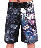 New Ed Hardy By Christian Audigier Men's Black Love Kills Slowly Paint Surf Swim Board Shorts Trunks