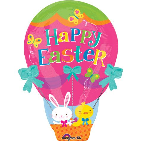 18 Inch Easter Hot Air Balloon Jr Shape Balloon 5 pack