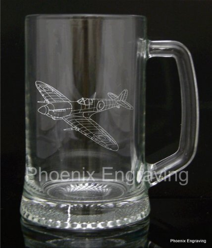 Barware Pint Glass Tankard Gift, Spitfire Plane, Luxury Gift Box Included