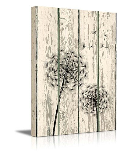 wall26-canvas-prints-wall-art-dandelion-on-vintage-wood-board-background-rustic-home-decoration-24-x