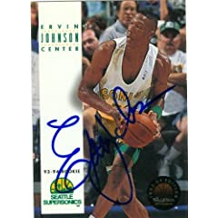 Ervin Johnson Autographed Hand Signed Basketball Card (Seattle Sonics) 1993 Skybox...