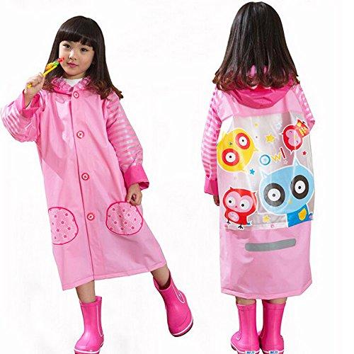 Ezyoutdoor Unisex Kids Pink/Blue/Yellow Children Hooded Raincoat Rain Jacket Poncho with School Bag Cover with Reflective Strip Children Raincoat Cartoon Poncho (Pink, S)