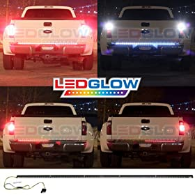 60 Inch Red Tailgate LED Light Bar with White Reverse Lights