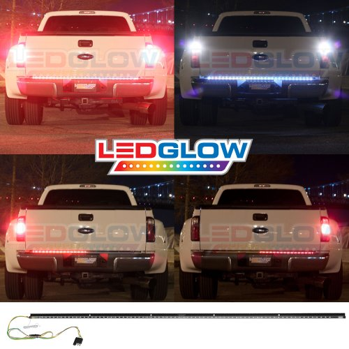 49 Inch Red Tailgate Led Light Bar With White Reverse Lights