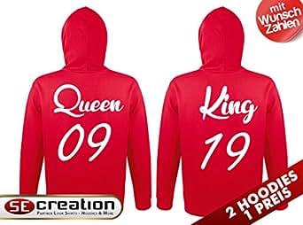2 partner look hoodies king mit wunschzahl und queen. Black Bedroom Furniture Sets. Home Design Ideas