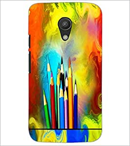 PrintDhaba Colour Pencils D-5847 Back Case Cover for MOTOROLA MOTO G2 (Multi-Coloured)