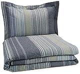 Pinzon Lightweight Cotton Flannel Duvet Set - Twin, Blue Stripe