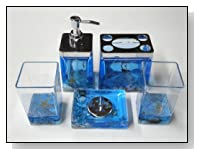 5pc Bathroom Accessory Set w/ Blue
