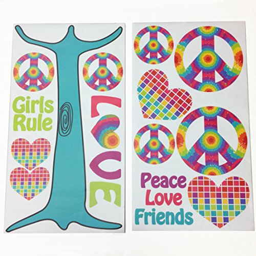 One Grace Place Terrific Tie Dye Wall Decals, Aqua Blue, Royal Blue, Purple, Yellow, Green, Orange, Pink, Red and White