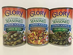 Glory Foods Sensibly Seasoned Lower Sodium Variety Pack - Green Beans, Collard Greens, Tomatoes and Okra