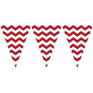 9ft Classic Red White Chevron Zigzag Pennant Party Flag Banner Bunting Decoration by Creative Converting