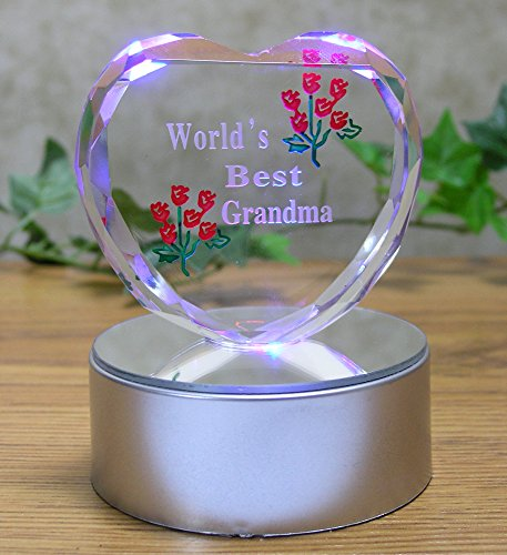 Light up LED Heart for Grandma - Worlds Best Grandma - Etched Glass Heart on LED Lighted Base - Gifts for Grandma - Granmother Gifts