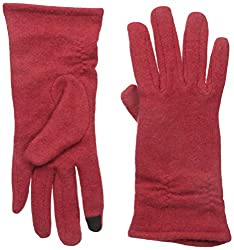 Gloves International Women's Wool Blend Gloves with Cinch, Deep Red, Large