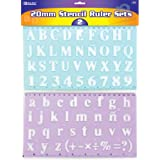 BAZIC 20 mm Transparent Lettering Stencil Ruler Sets, 2 Per Pack, Colors may vary